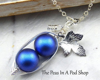 Mothers Day Sale Two Peas In A Pod Necklace,Two peas in a Pod Iridescent Dark Blue Necklace With Vine and Leaf.Ideal For Brides,Mom of two b