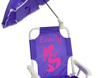 FREE SHIPPING!!  Personalized Child's Beach Chair with Umbrella -- SAVE when you buy 2 or more!
