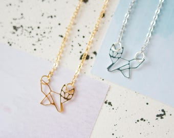 Fox Necklace, Fox Jewellery, Gold Fox Necklace, Silver Fox Necklace, Origami Fox Necklace, Fox Charm, Fox Gift, Geometric Fox Necklace