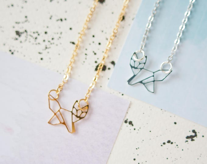 Featured listing image: Fox Necklace, Fox Jewellery, Gold Fox Necklace, Silver Fox Necklace, Origami Fox Necklace, Fox Charm, Fox Gift, Geometric Fox Necklace