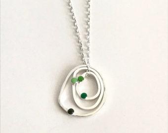 Irregular circle silver necklace - Silver pendant - green enamel pendant - Unique pendant