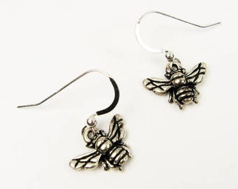Bee Earrings - Pewter Insect Jewelry for Nature Lover, Gardener, Beekeeper with Honey Bee, Bumble Bee - Bug Earrings