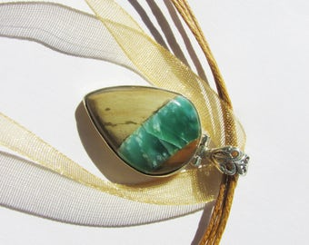 Cute Australian Variscite Necklace , 925 Silver, One of a Kind, With Organza Cord