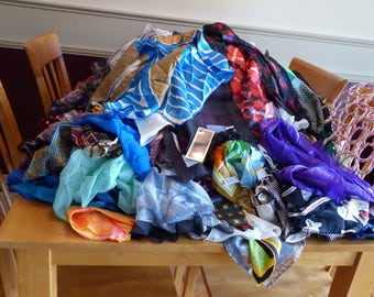 268+- Vintage Scarves-Approx 75+ signed-Mostly  large squares + Three 28 ring scarf hangars + 30 scarf rings-195 Dollars in Gifts
