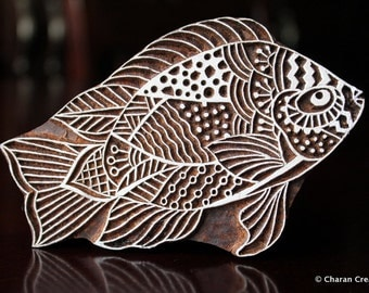 Textile Stamp, Wood Block Stamp, Tjaps, Indian Wood Stamp, Pottery Stamp, Hand Carved- Zentangle Fish