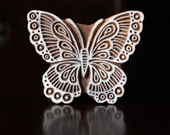 Hand Carved Indian Wood Textile Stamp Block- Butterfly