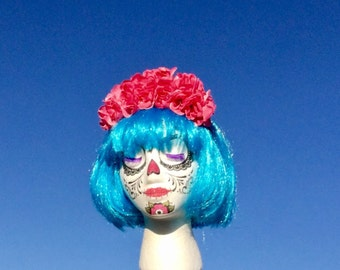 Day of the Dead Costume,Rose crown,Dia De Los Muertos Costume,Gothic Lolita, Lana Del Rey crown,Frida Kahlo Flower crown,sugar skull