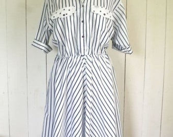Flash Sale 25% Off Vintage Shirt Dress 1980s Navy Blue White Striped Pocket Day Dress Large