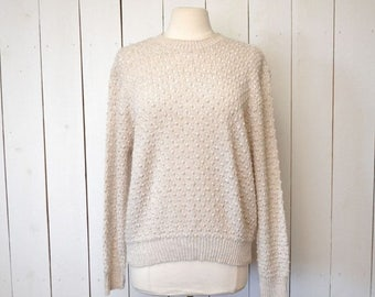 15% OFF - 7 Day Sale Bubble Knit Sweater 1970s Boho Vintage Slouchy Pullover Sweater Light Tan Large XL