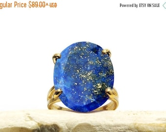 SUMMER SALE - Lapis ring,September birthstone ring,gold ring,yellow solid gold ring,oval ring,gemstone ring,prong ring