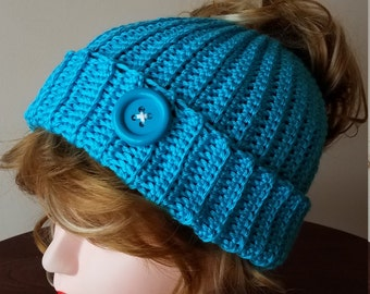 Turquoise Color Messy Bun Hat. Super soft, for teens or adults - Ready to be Shipped