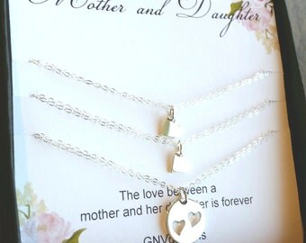 Mother Daughter Bracelets, Mother and Two Daughters Heart Cutout Bracelets, Two Daughters, Gift for Mother
