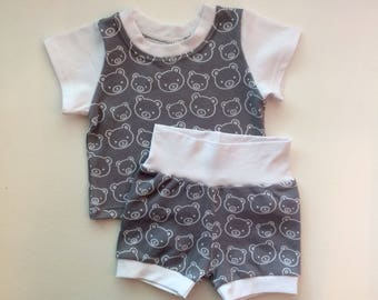 Gender Neutral Bear Two Piece Child Clothing Set