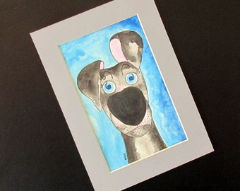 "Greyhound galgo original watercolour in grey mount ""But you said...!"" silly old greyhound ready to frame 5"" x 7"""