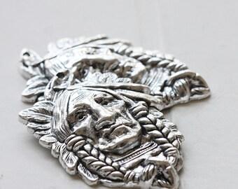 2 Pieces / Native Face / Oxidized Silver Tone / Base Metal / Pendant (Y35677//O665)