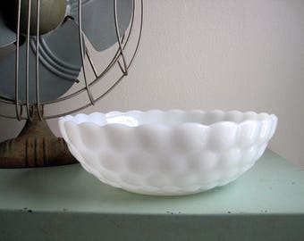 Vintage White Serving Bowl Vegetable Bowls Minimalist Simple Bubble Milk Glass Anchor Hocking Fire King Cottage Chic Wedding
