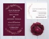 Burgundy Wedding Invitations | Rose Gold Wedding Invitation Set | Laurel Wreath Wedding Stationery | Discount Wedding Invite Suite