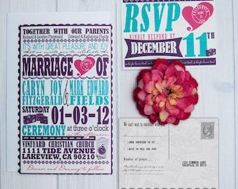 Travel Themed Wedding Invitations | Travel Wedding Theme Invite Set | Destination Wedding | Vintage Wedding Poster Invitation | Sample Set