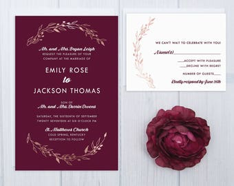 Burgundy Wedding Invitations | Rose Gold Wedding Invitation Set | Laurel Wreath Wedding Stationery | Discount Wedding Invite Suite