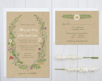 Wildflower Wedding Invitations | Boho Kraft Paper Wedding Invitation Set | Greenery Wedding Stationery | Discount Daisy Wedding Flowers