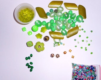 142 Green Beads plus a bag of micro beads ... destash sale ...  different shades of Green, shapes and sizes vary  ...  Beads As Shown