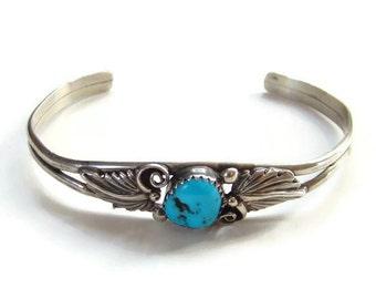 Vintage Navajo Turquoise Cuff Bracelet Signed RB Richard Rita Begay Sterling Silver