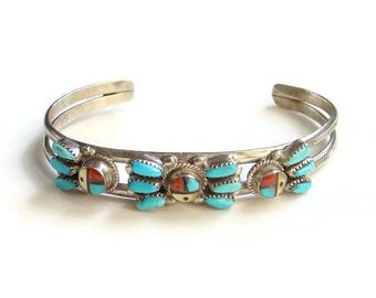 Vintage Zuni Sun Face Petit Point Turquoise Cuff Bracelet Sterling Silver Signed Zunie Sterling Silver Native American