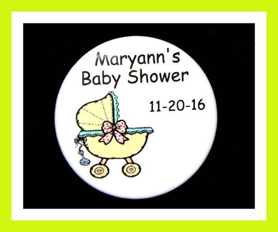 Baby Shower Buggy pins,Personalized Buttons,Favor Tags,Its a girl,Its a Boy,Party Favors,Birthday Party Favors,Personalized Favors,Set of 10