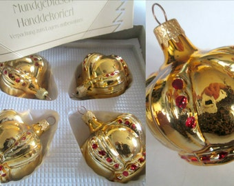 German Blown Glass Gold Crown Ornaments in Box Set of 4