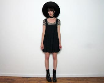 Black 90s DUNGAREE Style DRESS Quality Pinafore BABYDOLL Vintage Size S/M