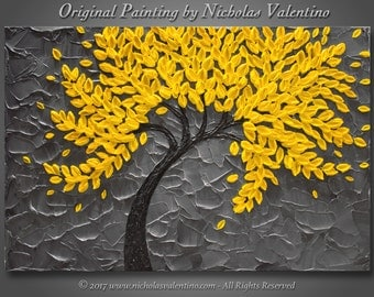 "Large 24""x36""x1.5"" Original Blossom Tree Painting - Yellow & Gray - Palette Knife Impasto Textured - Gallery Stretched Canvas  FREE SHIPPING"