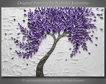 """Large 36""""x24""""x1.5"""" Original Textured Impasto Abstract Painting on Gallery Canvas Purple Blossom Tree Wall Art Palette Knife - FREE SHIPPING!"""