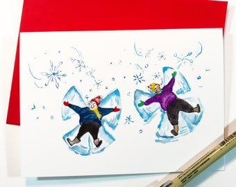Snow Angels, 5x7 card, Ready to Ship