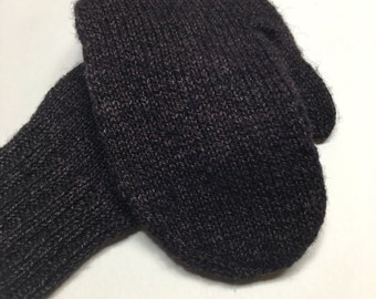 Black Jewel - Handknit Mittens - Soft Sturdy Falkland wool - Handspun - Hand Dyed - Black Jewel