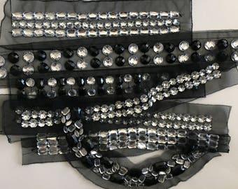 Fashion trim, Silver Gem Stone trim, Rhinestone Trim Lot, Fashion Trim