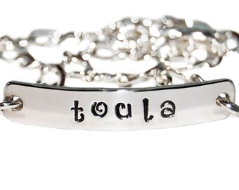 Sterling Name bracelet, two sided, silver id bracelet, personalized silver bracelet, child identification bracelet, inside message bracelet