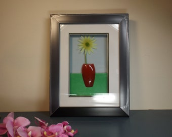 flower in shadow box glass covered frame gift idea size 9x 12 with frameready to hanghome office decor new old stock