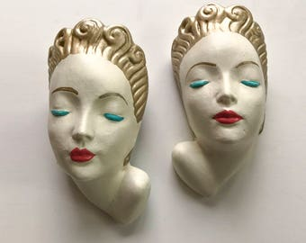 Pair of Art Deco Female Busts - 1950's Chalkware Wall Plaques