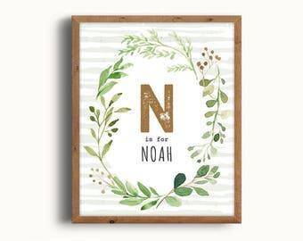 Noah Name Art, Rustic Nursery, Nursery Forest Decor, Forest Art Nursery, Baby Boy Nursery, Printable, Digital Print, Instant Download