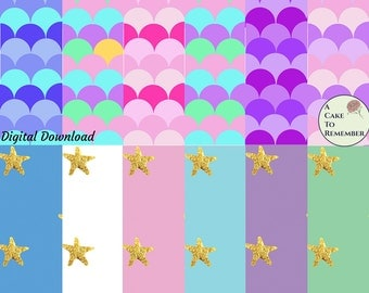 Digital download for mermaid cakes wafer paper or mermaid scrapbook paper. Mermaid scales and gold starfish for mermaid birthday cakes