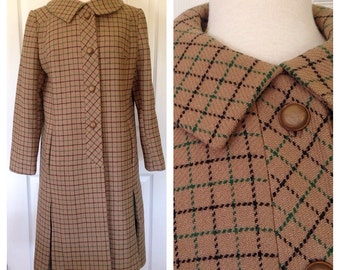 1960s Kay McDowell Taupe Overcoat with Green Kick Pleats