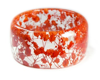 Orange Flower Bracelet -Jewelry with Real Flowers- Dried Flowers- Orange Bracelet - Dried Flowers- Orange Bracelet-Resin Jewelry
