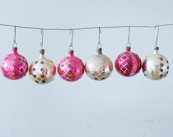 Set of 6 Hand Painted Pink Fushia Silver Vintage Christmas Glass Ornaments Polka Dots