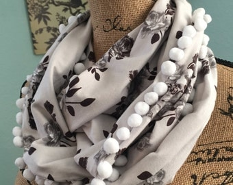 Classic Grey and White Floral Infinity Scarf with White Pom Pom Trim