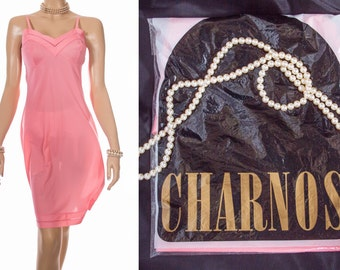 Brand new in original bag luxurious 1960's vintage  'Charnos' silky soft coral Ultron nylon and delicate inset lace detail full slip - 3870
