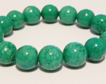 Chunky turquoise gemstone stretch bracelet. December birthstone.