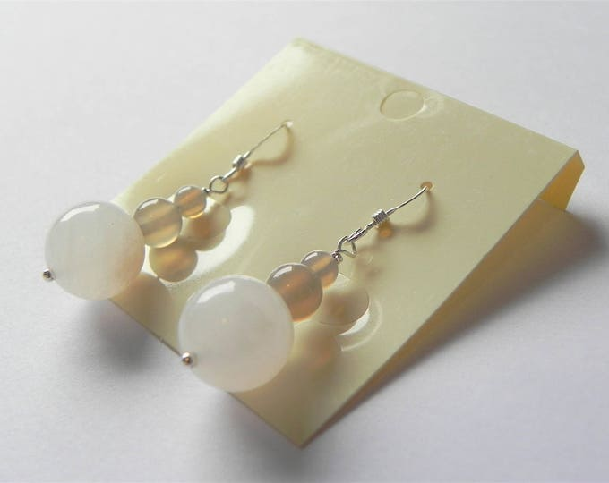 Pink aventurine and grey agate gemstone sterling silver drop earrings.