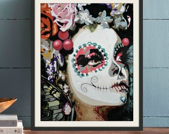 Sugar Skull Print Cardstock or Wrapped Canvas. professional art print - many sizes available  Ask a question