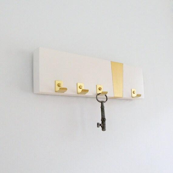 KEY RACK MODERN: Brass Gold Simple Key Holder Hooks Minimal Mod Home Entry Organization