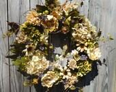 RESERVED FOR Danita Wrenn Summer Wreath , Spring Wreath , Hydrangea Wreath , For The Door ,  Outdoor Wreath , Hydrangea Wreath Rustic Wreath